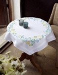 """PNV145232 Vervaco Kit Pretty Pansies  Table Cloth 32"""" x 32"""" 100% Cotton  Pre-Finished"""