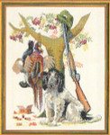"7712334 Eva Rosenstand Kit Dog with Pheasants 16"" x 20"" ; Linen; 25ct"