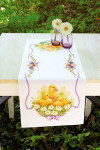 "PNV145840 Vervaco Kit Duckling with Daisies II  Table Runner 12"" x 33"" Pearl Aida 11ct"