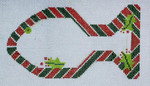 BP-06 BP DESIGNS Candy Cane Cat Ornament 6 ½ x 3 ¾ 18 Mesh
