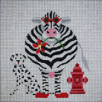 "JP Designs A079 Black & White and Red all Over"" Cow 6x6"" - 13 Mesh"