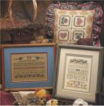 YT Bramble Hearth Blueberry Button: 79w x 105h, Folk Tulip Pillow: 99 x 99 Shepherd's Bush