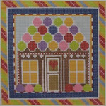 1382C NeedleDeeva 18 Mesh  4.5 x 4.5 Gingerbreadhouse Square