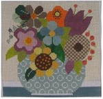 661I NeedleDeeva 13 Mesh 8.25 x 8.25 Flowers in Teal Vase