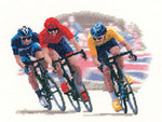 "HCK1214 Heritage Crafts Kit Cycle Race  Sporting Scenes  by John Clayton 8"" x 6""; Evenweave; 27ct"