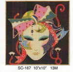 "SC-167 Mask w/Ribbons 10""x 10"" 13M Sophia Designs"