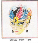"SC-509 Mask w/Feather Too 9"" x 9"" Sophia Designs"