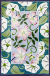 R1021 Lee's Needle Arts PPink/White Floral Rug Hand-painted canvas - 12 Mesh 36X24