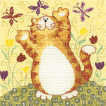 "HCK1232A Heritage Crafts Kit Flutterbys  Catz & Co by Karen Carter 14ct Aida 5"" x 5"""