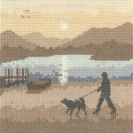 "HCK1230 Heritage Crafts Kit Sunset Stroll  Silhouettes by Phil Smith 27ct Evenweave 5"" x 5"""