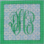 AA-765BB Monogram/Blue Fretwork Background Associated Talents