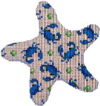 CT-1756W-A Blue Crab/Dots on White Starfish-Lg. Associated Talents