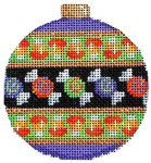EE-1209 Candy Stripe Ball Ornament 3 x 3.5 18 Mesh Associated Talents
