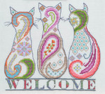14-2345 Paisley Cat Welcome 140w x 121h MarNic Designs