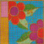 AW-14 Danji Designs ANN WINN Flower Power 3 ½ x 3 ½  18 Mesh With Stitch Guide