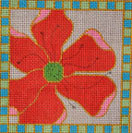 AW-10 Danji Designs ANN WINN Poppy 4 ¼ x4 ¼  18 Mesh With Stitch Guide