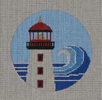 CB-8 Light House Ornament (stitch guide available) 4 inch circle 18 Mesh Danji Designs CHRISTINE SAUNDERS