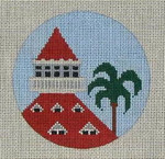 CB-14 Palm Tree and Hotel Del Ornament 4 inch circle 18 Mesh Danji Designs CHRISTINE SAUNDERS