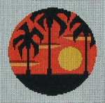 CB-16 Palm Trees Sunset Ornament (stitch guide available) 4 inch circle 18 Mesh Danji Designs CHRISTINE SAUNDERS