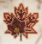 MH180202 Mill Hill Seasonal Ornament / Pin Kit Maple Leaves (2010)