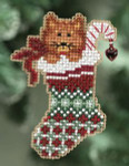 MH180301 Mill Hill Seasonal Ornament Kit Kitty's Stocking (2010)