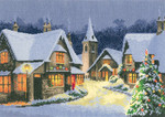 "HCK1244A Heritage Crafts Kit Christmas Village  The John Clayton Collection 12.25"" x 8.75 "" 14ct Aida"