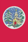 "HCK1151R Heritage Crafts Kit Church - Red Christmas Cards Christmas Cards by Michaela Learner & Susan Ryder 3 cards and envelopes 4"" x 6""; Aida; 14ct"