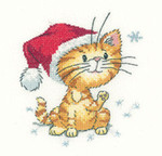 "HCK1157 Heritage Crafts Kit Catching Snowflakes  Cats Rule by Peter Underhill 4"" x 4""; Evenweave; 27ct"