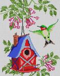 3222 Fuchsia Birdhouse 12 Mesh 9x111⁄2 Treglown Designs