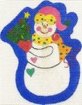 ab19 A. Bradley snowman with tree 3 x 4 18 Mesh