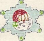 ab30 A. Bradley peppermint snowflake 4 x 4 18 Mesh