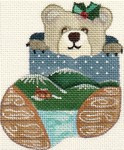 ab112 A. Bradley woody bear	3 x 4  18  Mesh Stocking