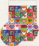 ab152 A. Bradley valentine patchwork Mini-Sock 3 x 4  18 Mesh