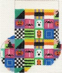 ab154 A. Bradley halloween patchwork Mini-Sock 3 x 4 18 Mesh