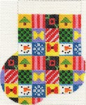 ab154a A. Bradley christmas patchwork Mini-Sock 3 x 4 18 Mesh