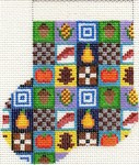 ab154b A. Bradley thanksgiving patchwork Mini-Sock 3 x 4 18 Mesh