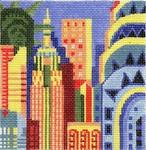 ab219a A. Bradley n.y city skyline 4 ½ x 4 ½ 18  Mesh
