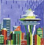 ab219c A. Bradley seattle skyline 4 ½ x 4 ½  18 Mesh