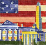 ab219e A. Bradley washington d.c. skyline 4 ½ x 4 ½ 18 Mesh