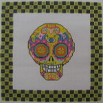 ab327a A. Bradley day of the dead skull #4 larger 10 x 10 18 Mesh