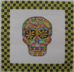 ab326a A. Bradley day of the dead skull #3 larger 10 x 10  18 Mesh