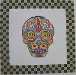 ab325a A. Bradley day of the dead skull #2 larger 10 x 10  18 Mesh