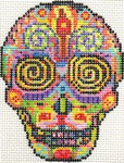 ab325 A. Bradley day of the dead skull #2 3 x 4 18 Mesh