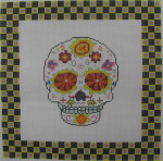 ab324a A. Bradley day of the dead skull #1 larger 10 x 10 18 Mesh
