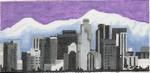 ab320 A. Bradley b/w los angeles cityscape 6 x 2.75 18 Mesh