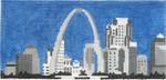 ab319 A. Bradley b/w st. louis cityscape 6 x 2.75 18 Mesh