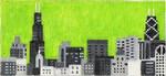 ab315a A. Bradley b/w chicago cityscape 6 x 2.75 18 Mesh