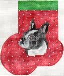 ab340 A. Bradley boston terrier Mini-Sock 3 x 4 18 Mesh