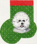 ab352 A. Bradley bichon frise mini-sock 3 x 4  18 Mesh