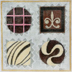 HO1126 SMALL CHOCOLATE BOX  5 3/8 X 5 3/8, 18 Mesh Raymond Crawford Designs
